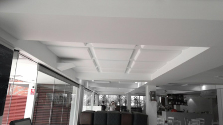White acoustic ceiling panels